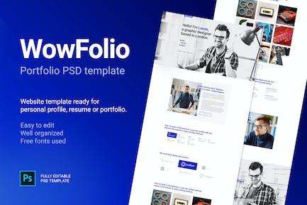 WowFolio - Portfolio / Resume Onepage PSD template