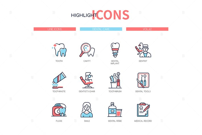 Thumbnail for Dental care - line design style icons set