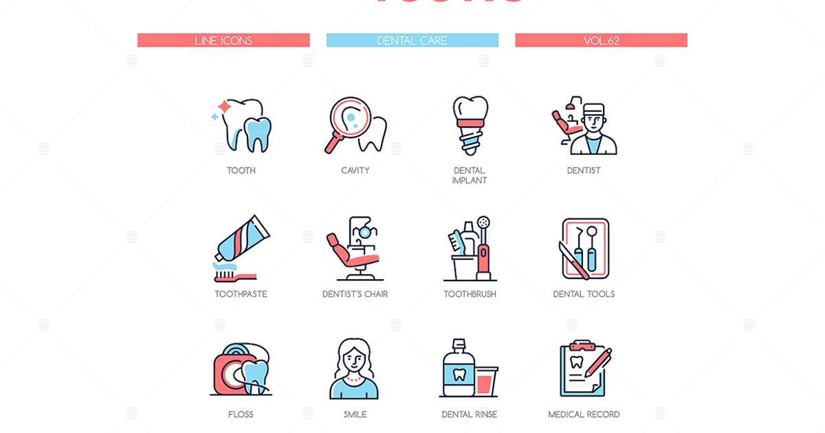 Download Dental care - line design style icons set by BoykoPictures