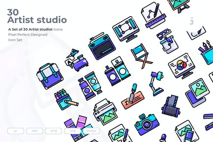 30 Artist studio Icons