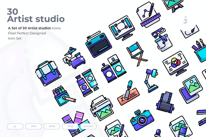 Thumbnail for 30 Artist studio Icons