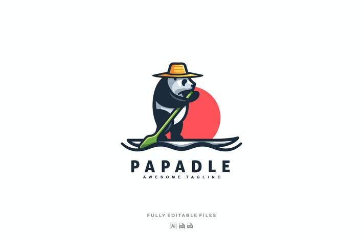 Thumbnail for Panda Paddle Mascot Cartoon Logo