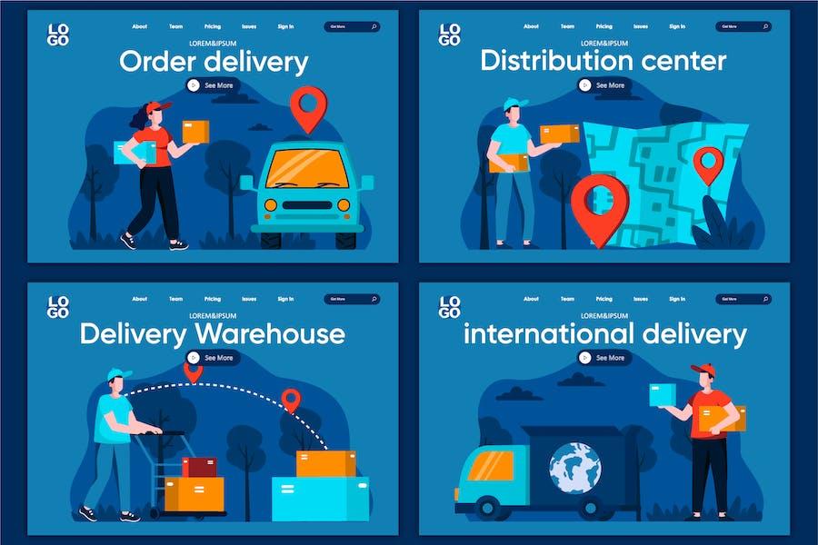Modèle de page d'accueil Concept Logistic Flat