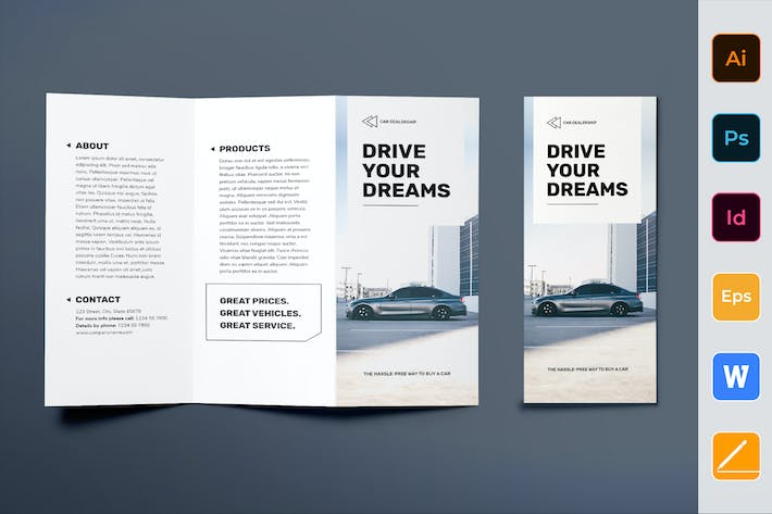 Cover Image For Car Dealership Brochure Trifold