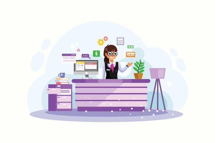 Thumbnail for Female Bank Teller Vector Illustration