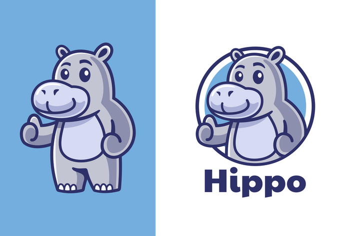 Thumbs up Hippo Mascot Logo Design