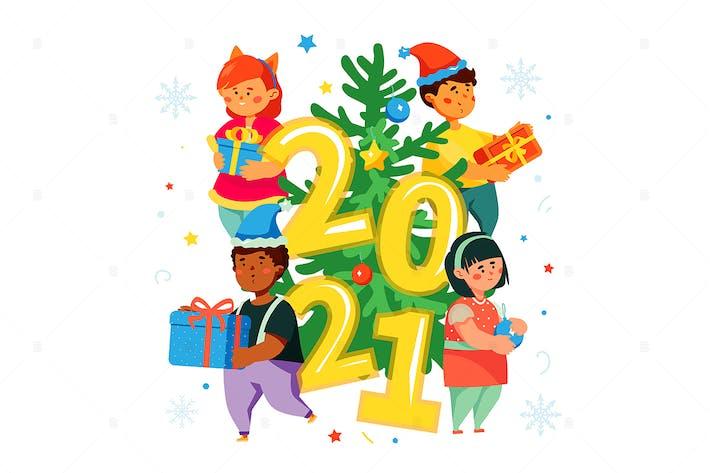 Thumbnail for Счастливые дети за елкой - иллюстрация