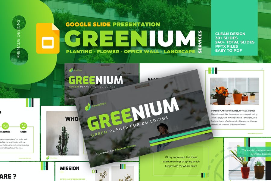 Greenium - Planting Services Google Slide