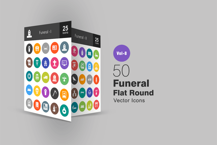 Thumbnail for 50 Funeral Flat Round Icons