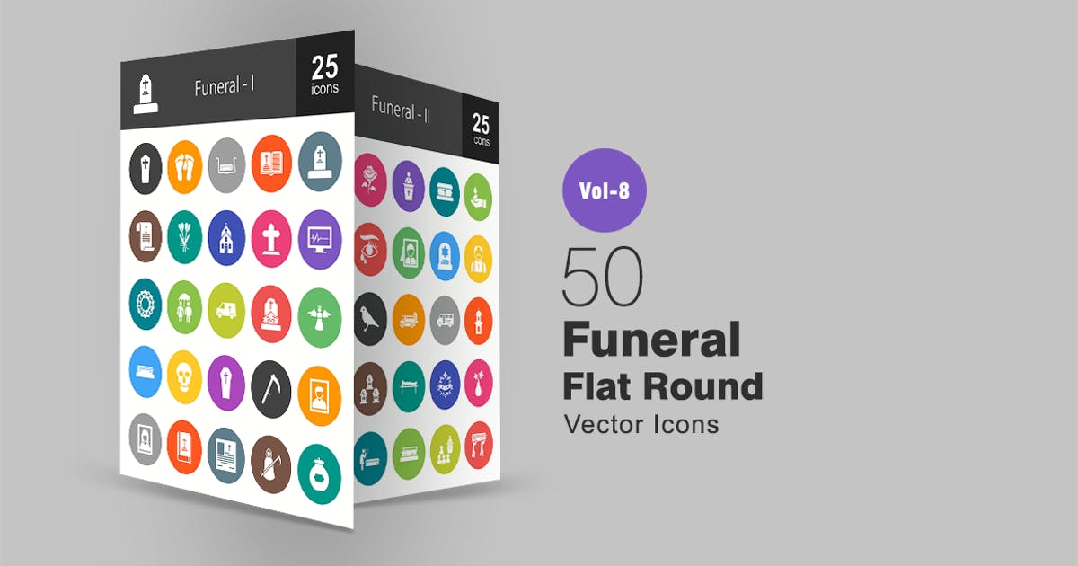 50 Funeral Flat Round Icons by IconBunny