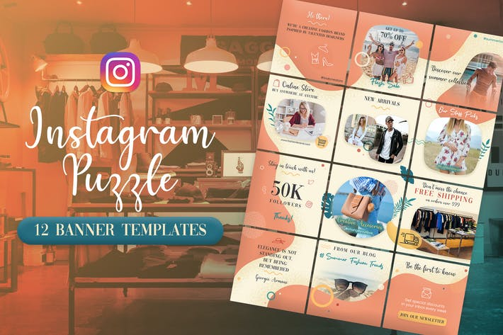 Thumbnail for Fashion and Clothing - Instagram Puzzle Banners