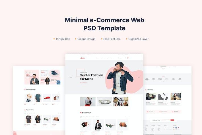 Thumbnail for Vino- Minimal e-Commerce PSD template