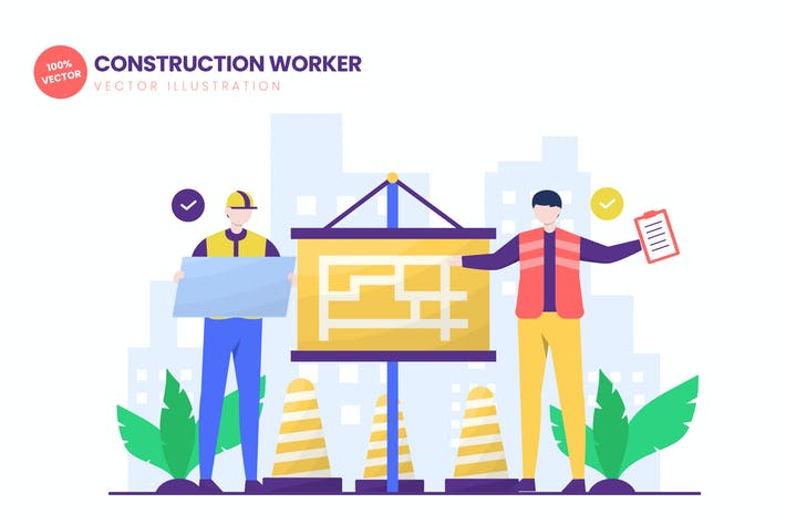 Thumbnail for Construction Worker Flat Vector Illustration