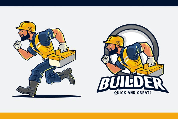Thumbnail for Construction Worker With Toolbox Mascot Logo