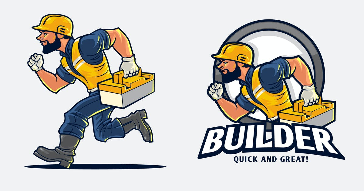 Download Construction Worker With Toolbox Mascot Logo by Suhandi