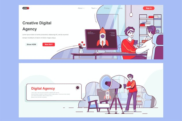 Creative Agency Header Footer or Middle Content
