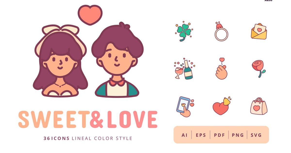 Download 36 Sweet&Love Icons Lineal Color Style by Victoruler