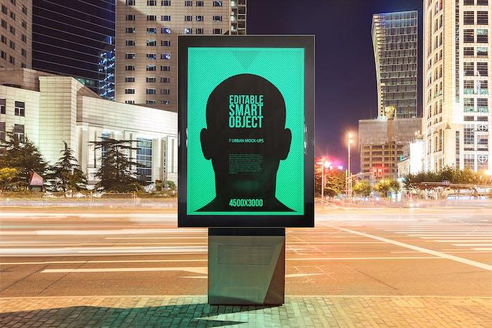 Thumbnail for 7 Urban Poster-Billboard Mock-Ups - Night Edition