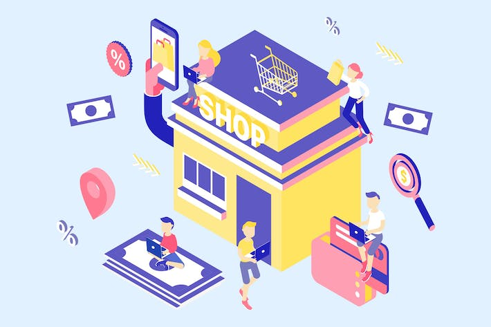 Thumbnail for E-Commerce Isometric Illustration