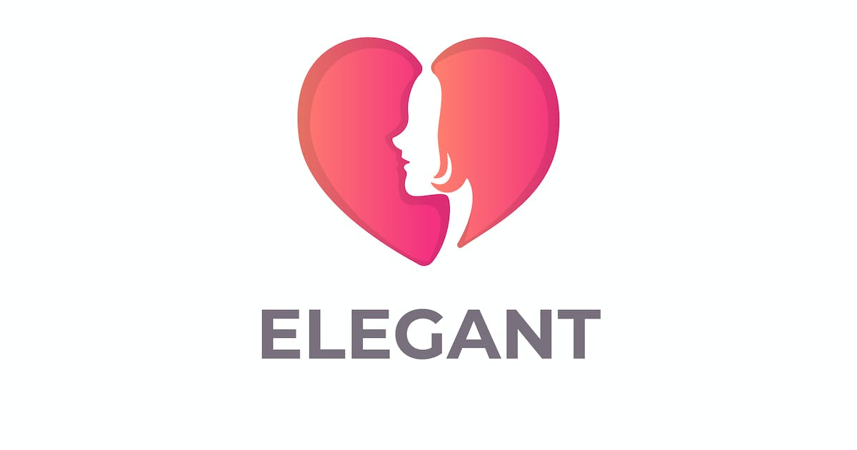 Download Heart and Woman Silhouette Negative Space Logo by Suhandi