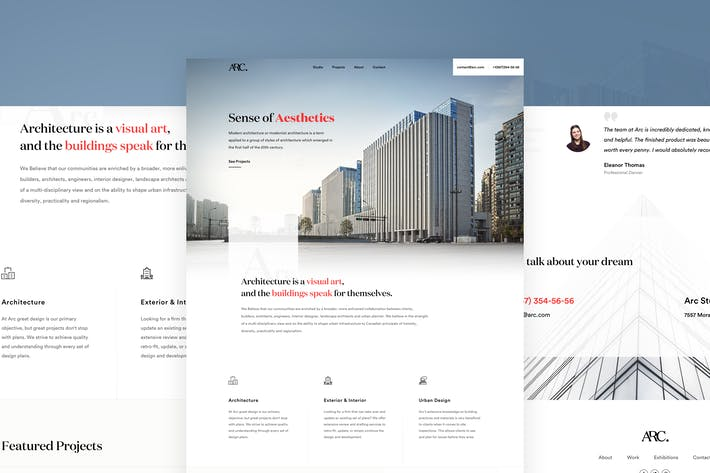 Thumbnail for Arc - Architectural Landing Page
