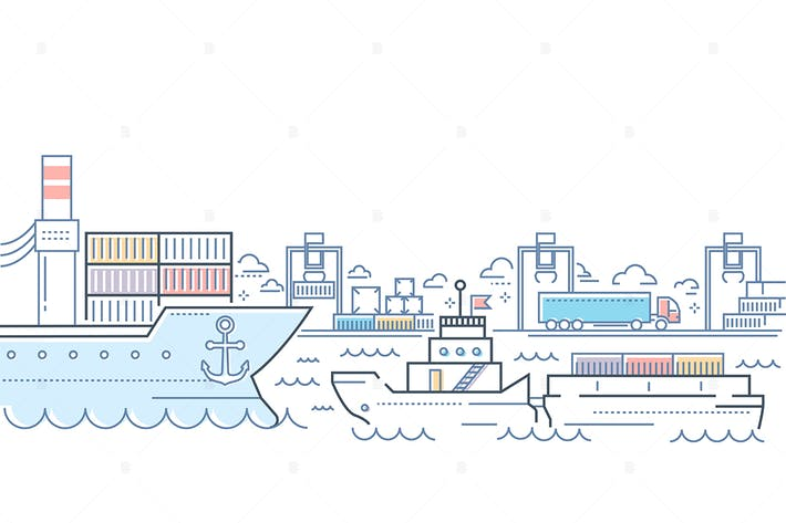 Thumbnail for Port - line design style colorful illustration
