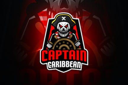 Captain Caribbean - Maskottchen & Esport Logo
