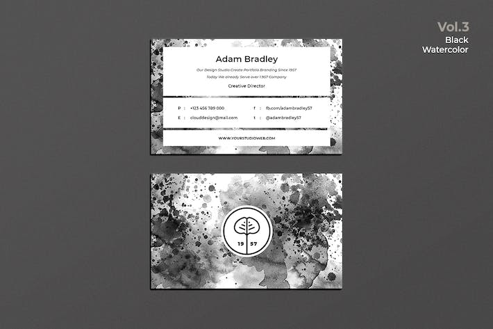 Thumbnail for Business Card Watercolor Black Vol. 3