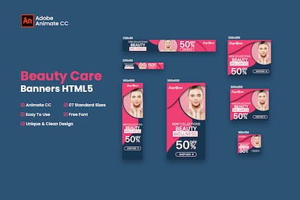 Beauty Care HTML5 Banner Ad - Animate CC