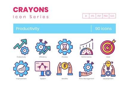 90 Produktivität Icons - Buntstifte-Serie
