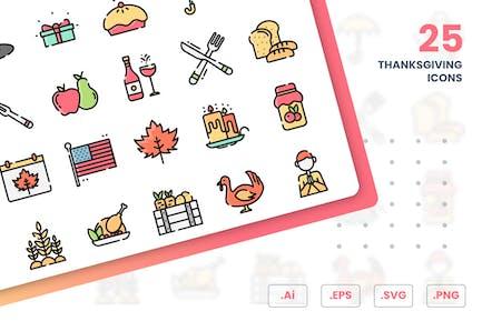 Набор Иконки к на День Благодарения