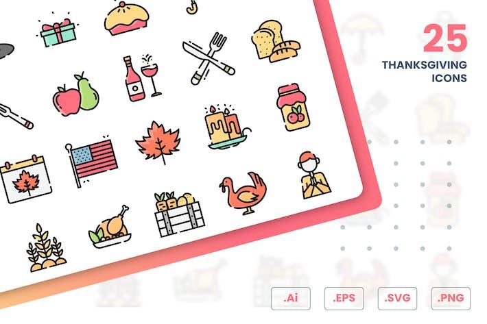 Thumbnail for Thanksgiving Icons Set