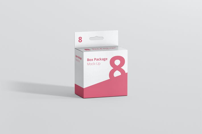 Cover Image For Package Box Mockup - Slim Square with Hanger