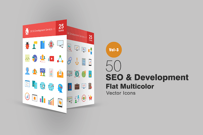 Thumbnail for 50 SEO & Development Flat Multicolor Icons