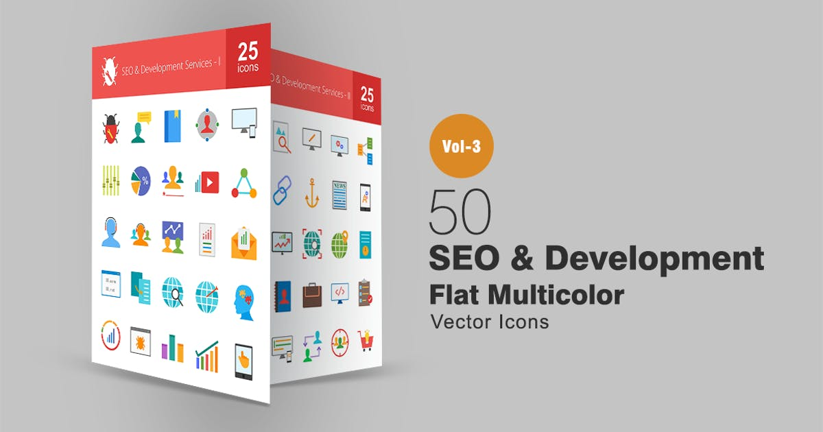 50 SEO & Development Flat Multicolor Icons by IconBunny