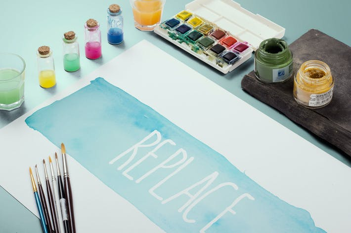 Thumbnail for Watercolor Paint Mockup Template #3