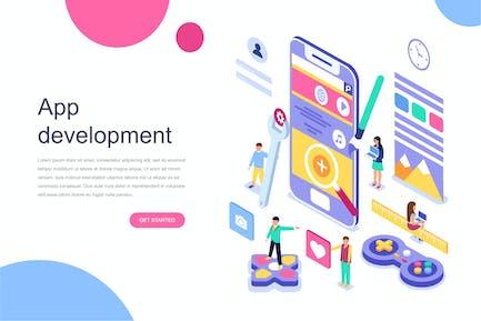 App Development Isometric Concept