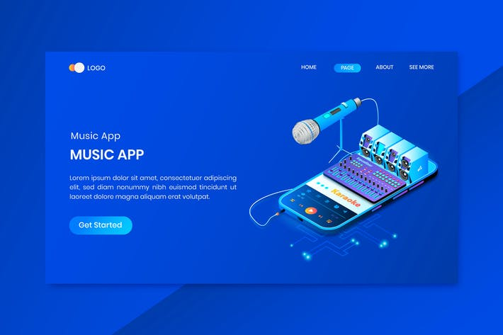 Thumbnail for Musical App Isometric Concept Landing Page