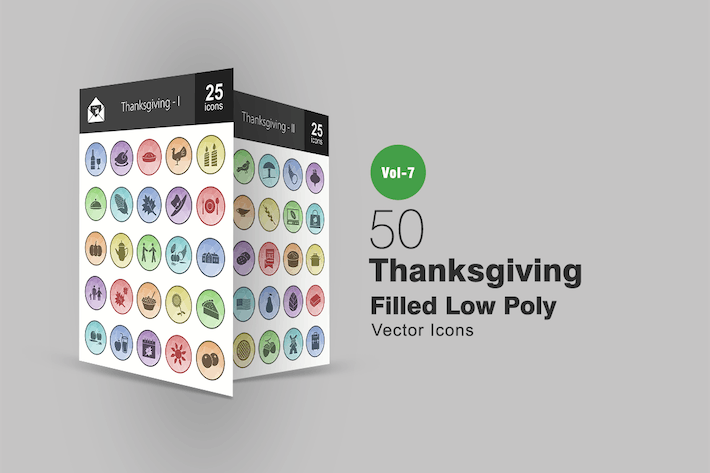 Thumbnail for 50 Thanksgiving Filled Low Poly Icons