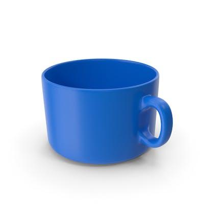 Taza de café azul vacía