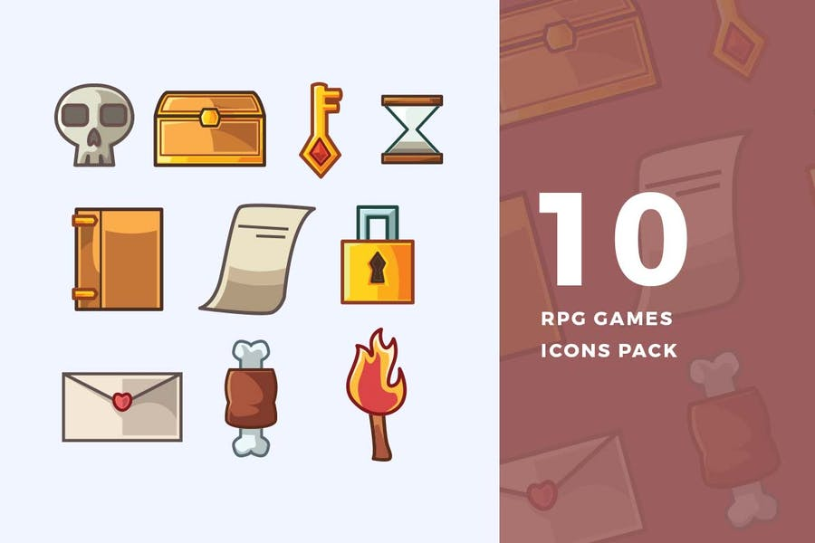 10 RPG Games Icons Pack