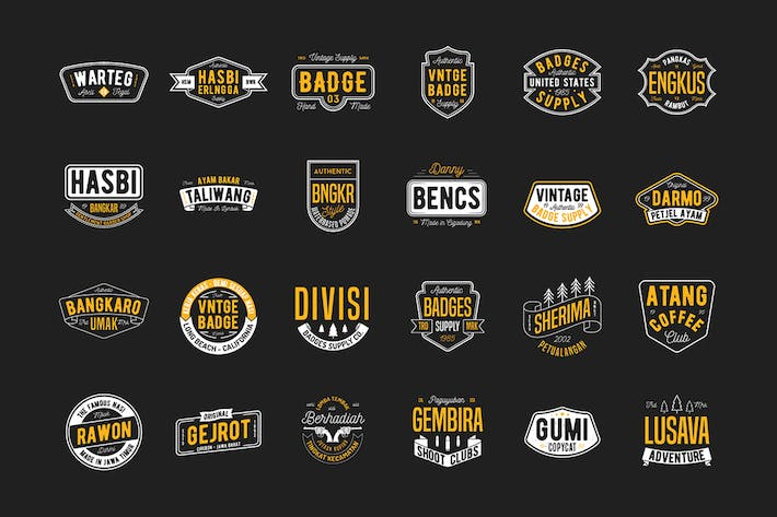 Cover Image For 24 Vintage Badges