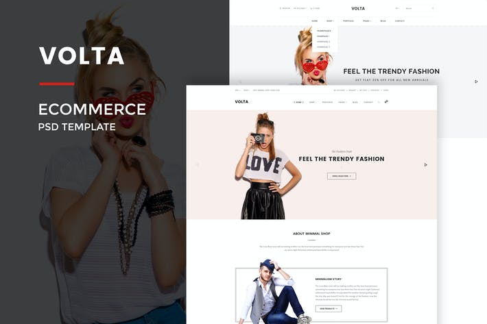 Thumbnail for Volta : Minimal Shopping PSD Template