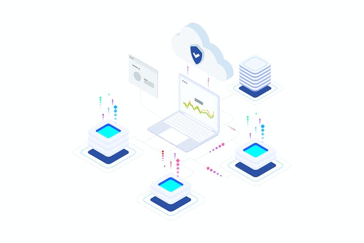 Thumbnail for Network Security on Blockchain Isometric 3 - T2