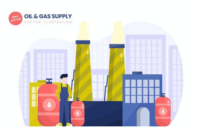 Thumbnail for Oil & Gas Supply Flat Vector Illustration