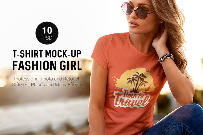 Thumbnail for Camiseta Mock-Up Fashion Girl