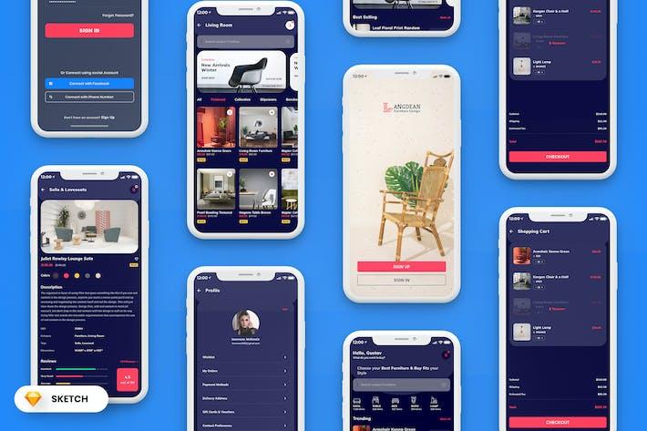Thumbnail for Furniture Mobile App UI Kit Dark Version (SKETCH)