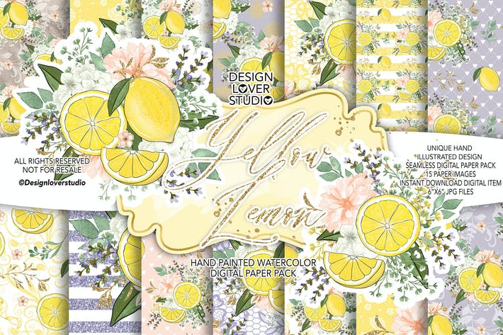 Thumbnail for Yellow Lemon digital paper