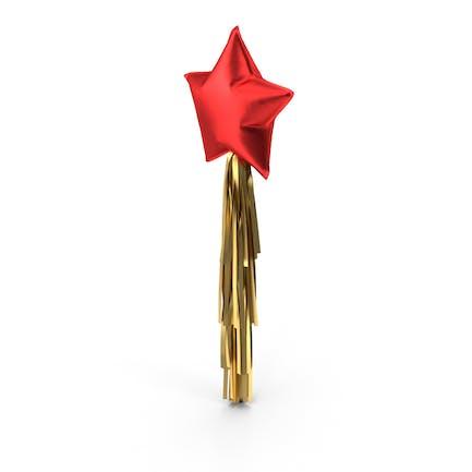 Red Star Balloon with Tassel Garland