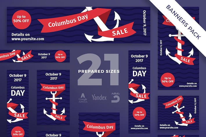 Thumbnail for Columbus Day Banner Pack Template